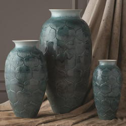 Global Views Lady Los Vase - Teal - Med