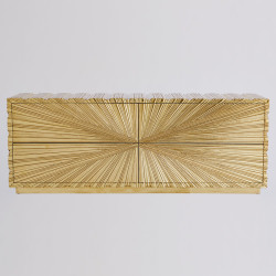Global Views Linenfold Cabinet - Brass