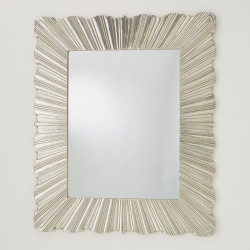 Global Views Linenfold Mirror - Silver - Lg