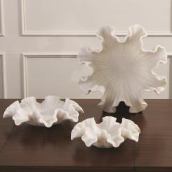 Global Views Marble Ruffle Bowl - White - Lg