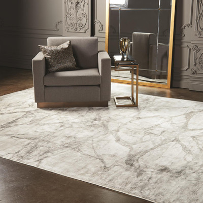 Global Views Mirror Match Marble Rug - Neutrals 9 x 12
