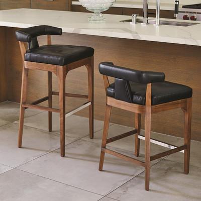 Global Views Moderno Bar Stool - Black Marble Leather
