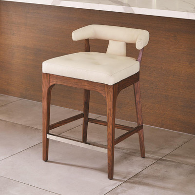 Global Views Moderno Bar Stool - Ivory Marble Leather