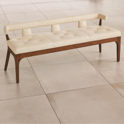 Global Views Moderno Bench - Ivory Marble Leather
