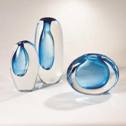 Global Views Off Set Vase - Light Blue - Lg