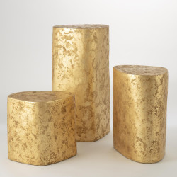 Global Views Organic Ceramic Pedestal - Gold Leaf - Sm