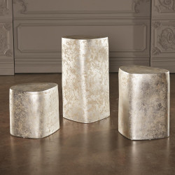 Global Views Organic Ceramic Pedestal - Silver Leaf - Sm