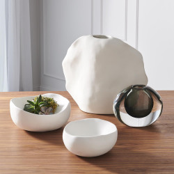 Global Views Organic Round Bowl - Matte White - Med