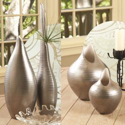 Global Views Platinum Stripe Vase - Sm