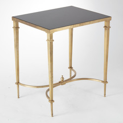 Global Views Rectangular French Square Leg Table - Brass