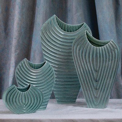 Global Views Ripple Vase - Azure - Lg