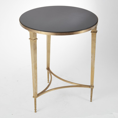 Global Views Round French Square Leg Table - Brass