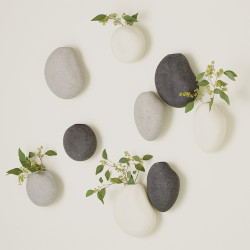 Global Views S/3 Pebble Wall Vases - Black