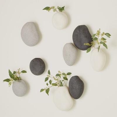 Global Views S/3 Pebble Wall Vases - Black