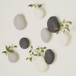 Global Views S/3 Pebble Wall Vases - Grey