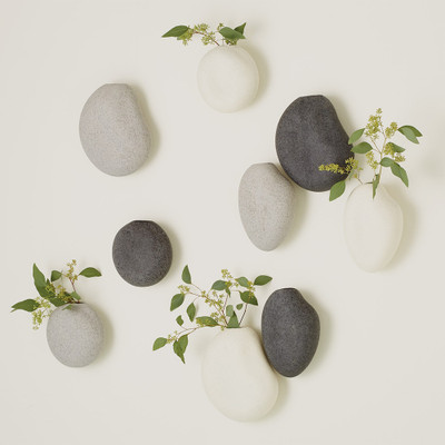 Global Views S/3 Pebble Wall Vases - Ivory