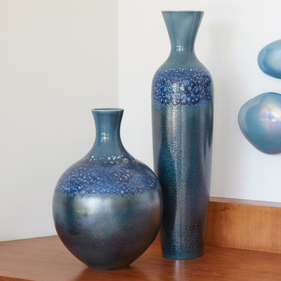 Global Views Sapphire Ombre Round Vase