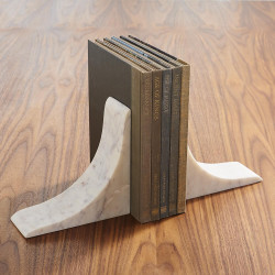 Global Views Sleek Bookends - White