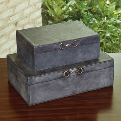Global Views Stirrup Detail Box - Blue Wash - Lg