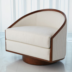 Global Views Swivel Chair - White Leather