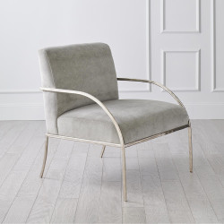 Global Views Swoop Chair - Grey Velvet - Nickel