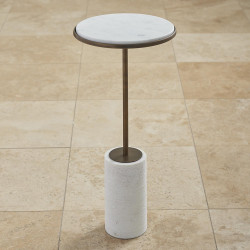 Global Views Tall Cored Marble Table - Bronze