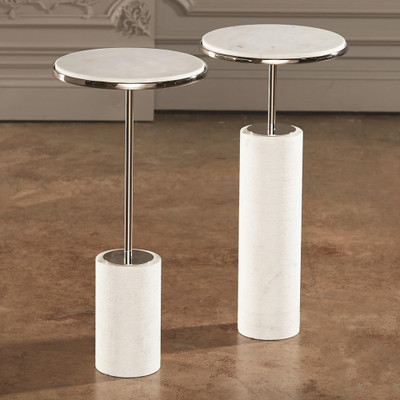 Global Views Tall Cored Marble Table - Nickel