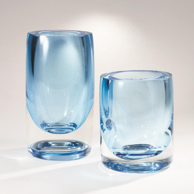 Global Views Thick Cylinder Vase - Powder Blue/Light Blue - Lg