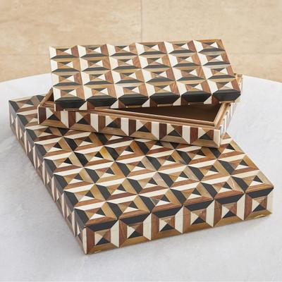 Global Views Triangle Marquetry Box - Lg