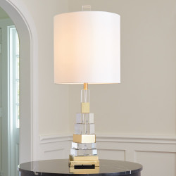 Global Views Twisted Crystal Lamp - Brass
