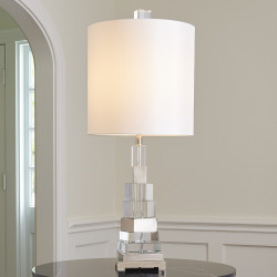 Global Views Twisted Crystal Lamp - Nickel