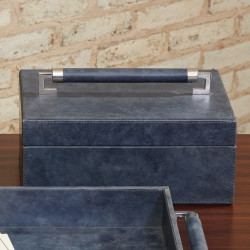 Global Views Wrapped Leather Handle Box - Blue Wash