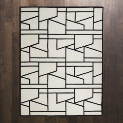 Global Views Zig Zag Rug - Ivory/Black - 6 x 9