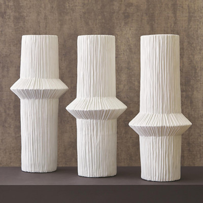 Studio A Acending Ring Vase - Matte White - Low