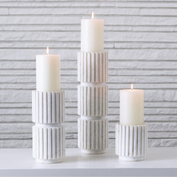 Studio A Channel Pillar Holder - White Marble - Med