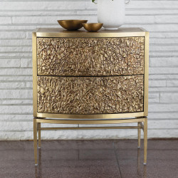 Studio A Crinkle Bedside Chest - Brass/Bronze