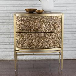 Studio A Crinkle Bedside Chest - Brass/Bronze