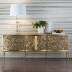 Studio A Crinkle Long Cabinet - Brass/Bronze