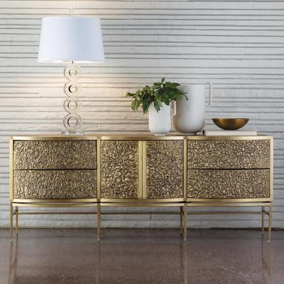 Studio A Crinkle Long Cabinet - Brass/Bronze