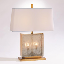 Studio A Cube Slab Table Lamp - Antique Brass