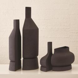 Studio A Flat Back Vase - Black Crust - Med