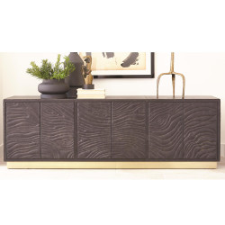 Studio A Forest Long Cabinet - Charcoal Leather