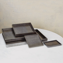Studio A Gunmetal Silver Leaf Rectangle Tray - Sm