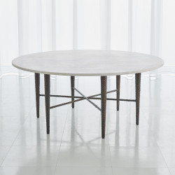 Studio A Hammered Cocktail Table - Bronze w/White Marble