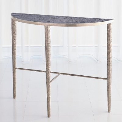 Studio A Hammered Console - Antique Nickel w/Grey Marble