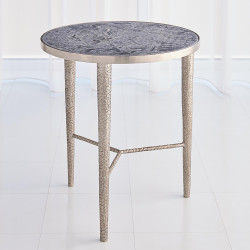 Studio A Hammered End Table - Antique Nickel w/Grey Marble