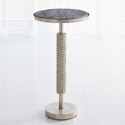Studio A Hammered Martini Table - Antique Nickel w/Grey Marble