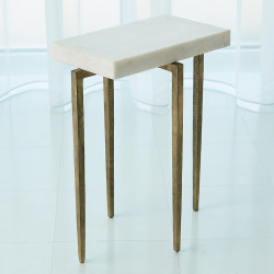 Studio A Laforge Accent Table - Antique Gold w/White Honed Marble Top