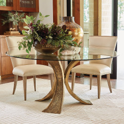 Studio A Lotus Dining Table w/60 Glass Top - Antique Gold/Bronze