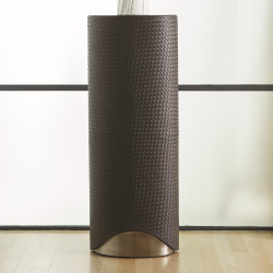 Studio A Milan Oval Pedestal - Charcoal Leather